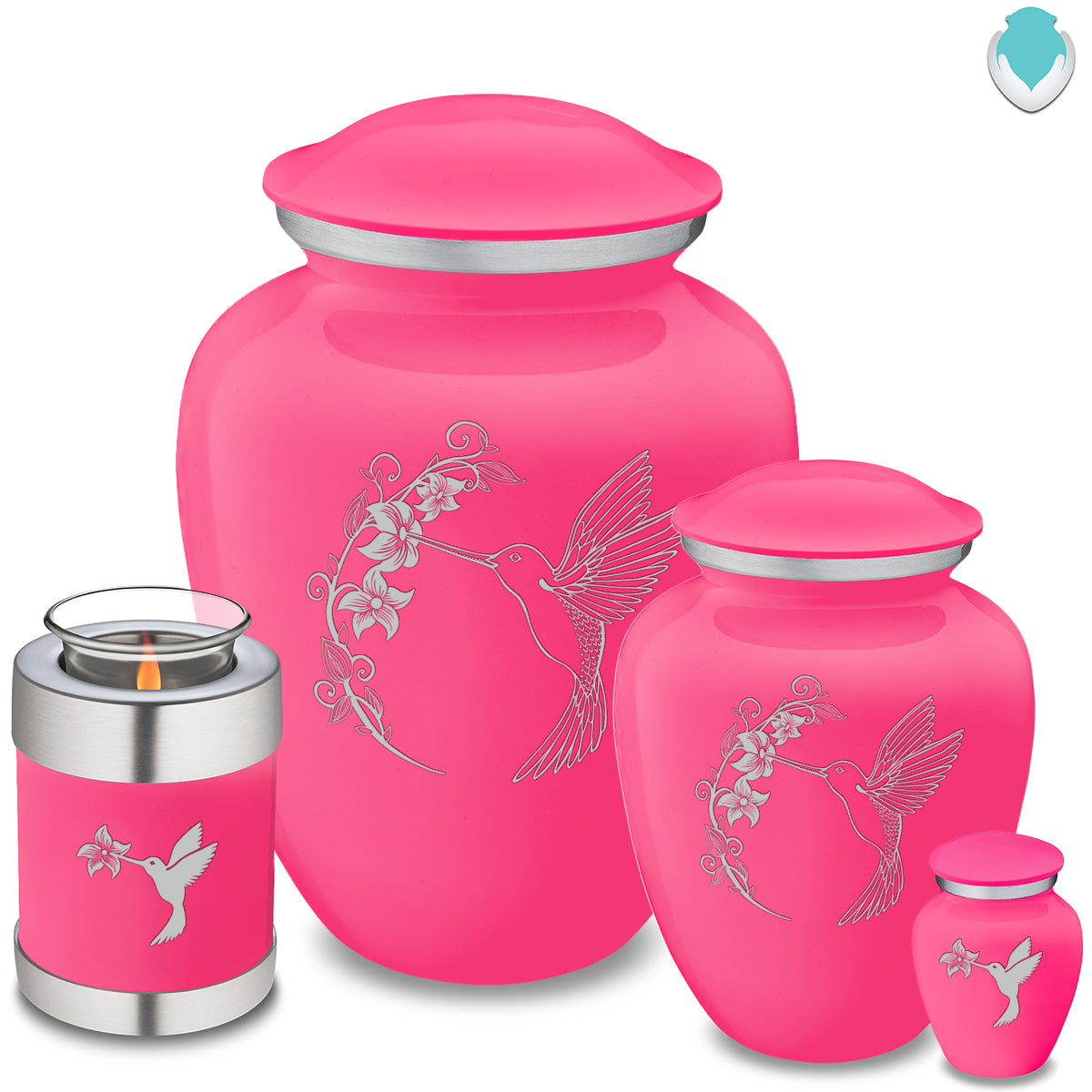 Adult Embrace Bright Pink Hummingbird Cremation Urn