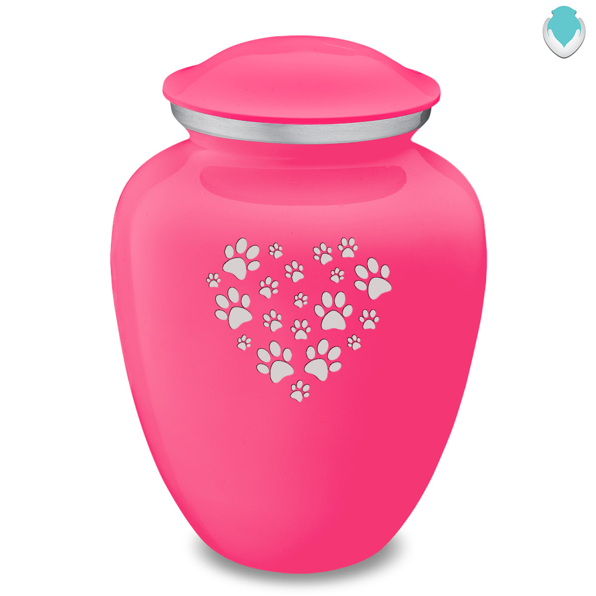 Large Embrace Bright Pink Heart Paws Pet Cremation Urn