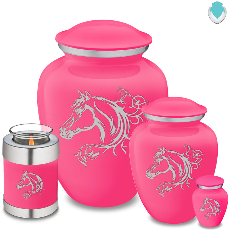 Adult Embrace Bright Pink Horse Cremation Urn