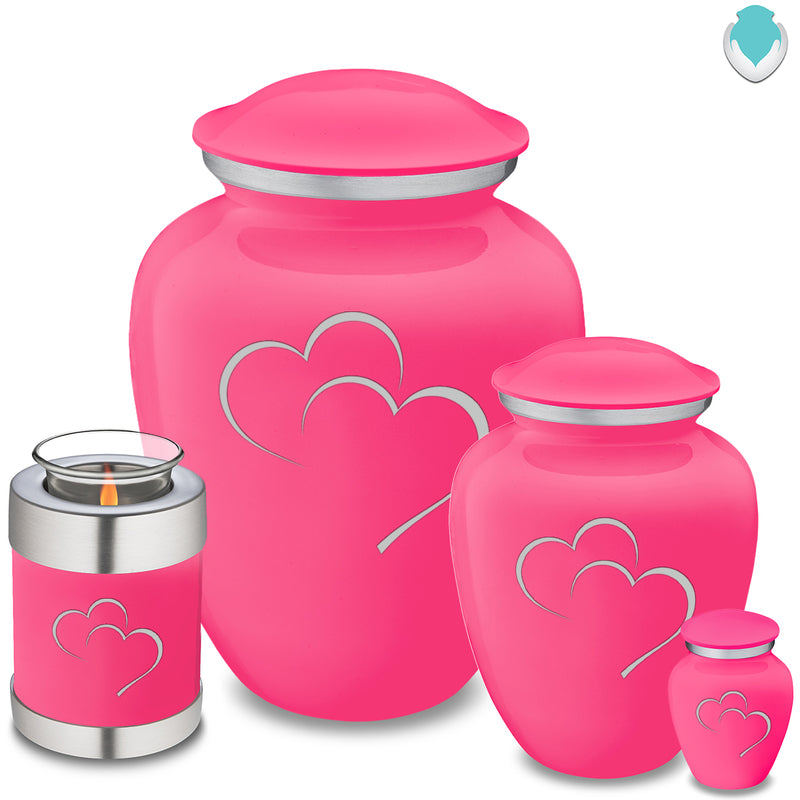 Adult Embrace Bright Pink Hearts Cremation Urn