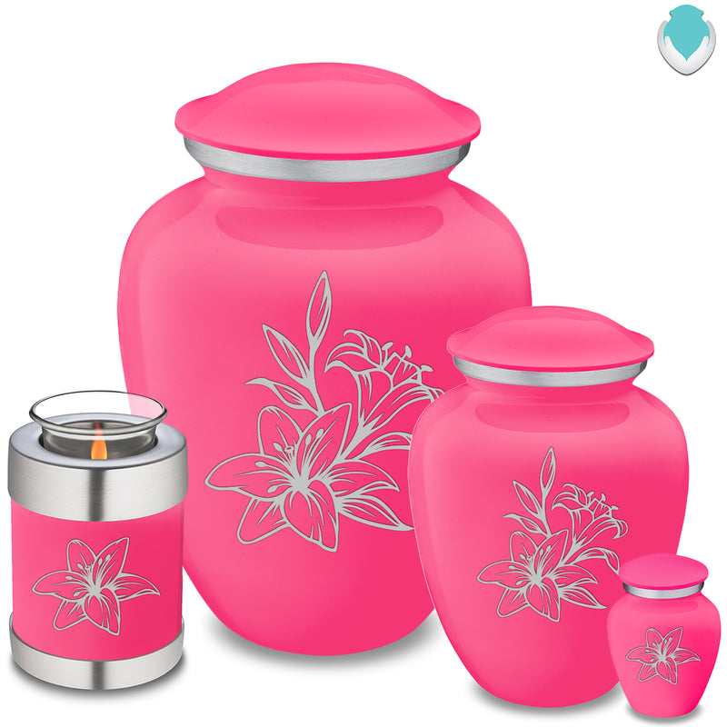 Adult Embrace Bright Pink Lily Cremation Urn