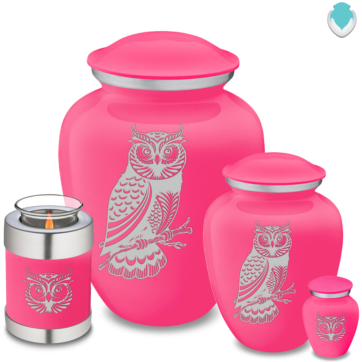 Adult Embrace Bright Pink Owl Cremation Urn