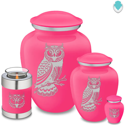 Keepsake Embrace Bright Pink Owl Cremation Urn