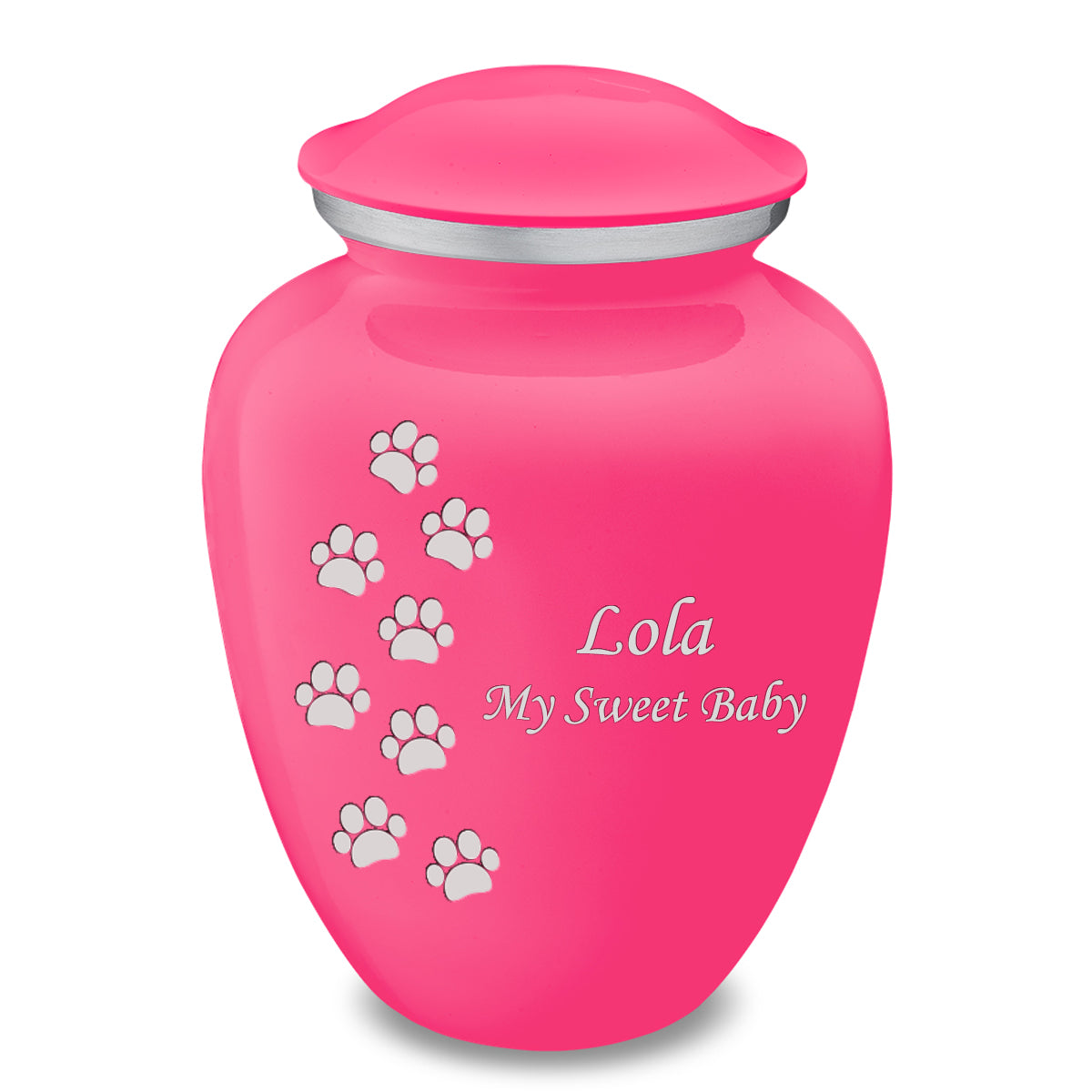 Large Embrace Bright Pink Walking Paws Pet Cremation Urn