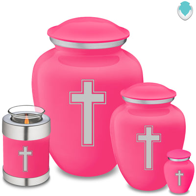 Candle Holder Embrace Bright Pink Simple Cross Cremation Urn