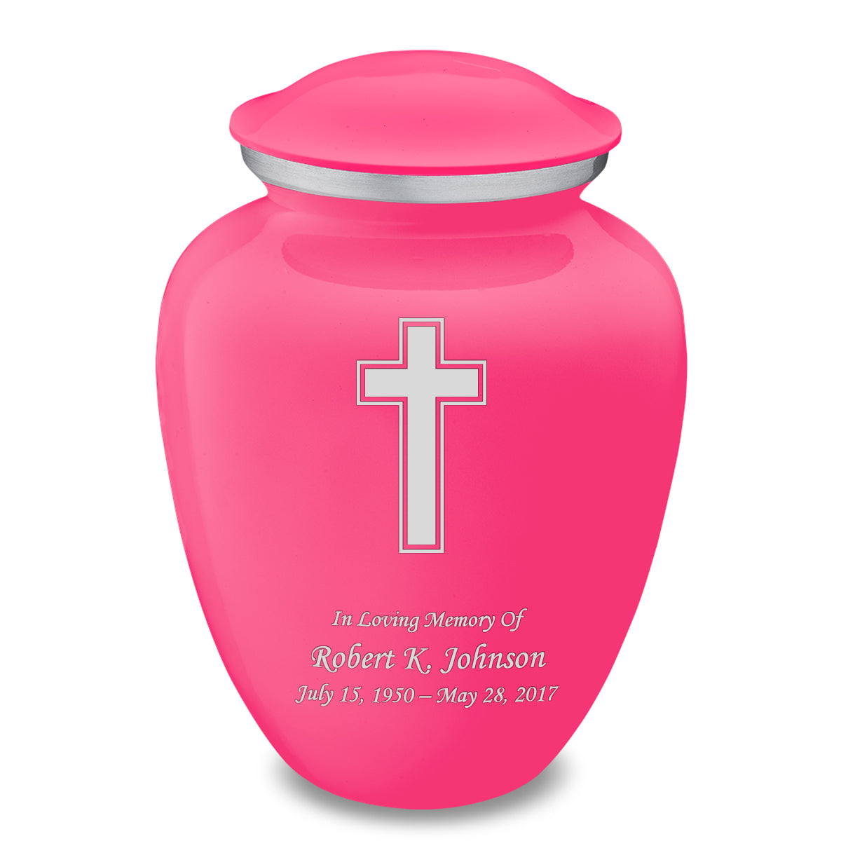 Adult Embrace Bright Pink Simple Cross Cremation Urn