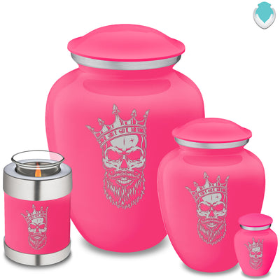Medium Embrace Bright Pink Skull Cremation Urn