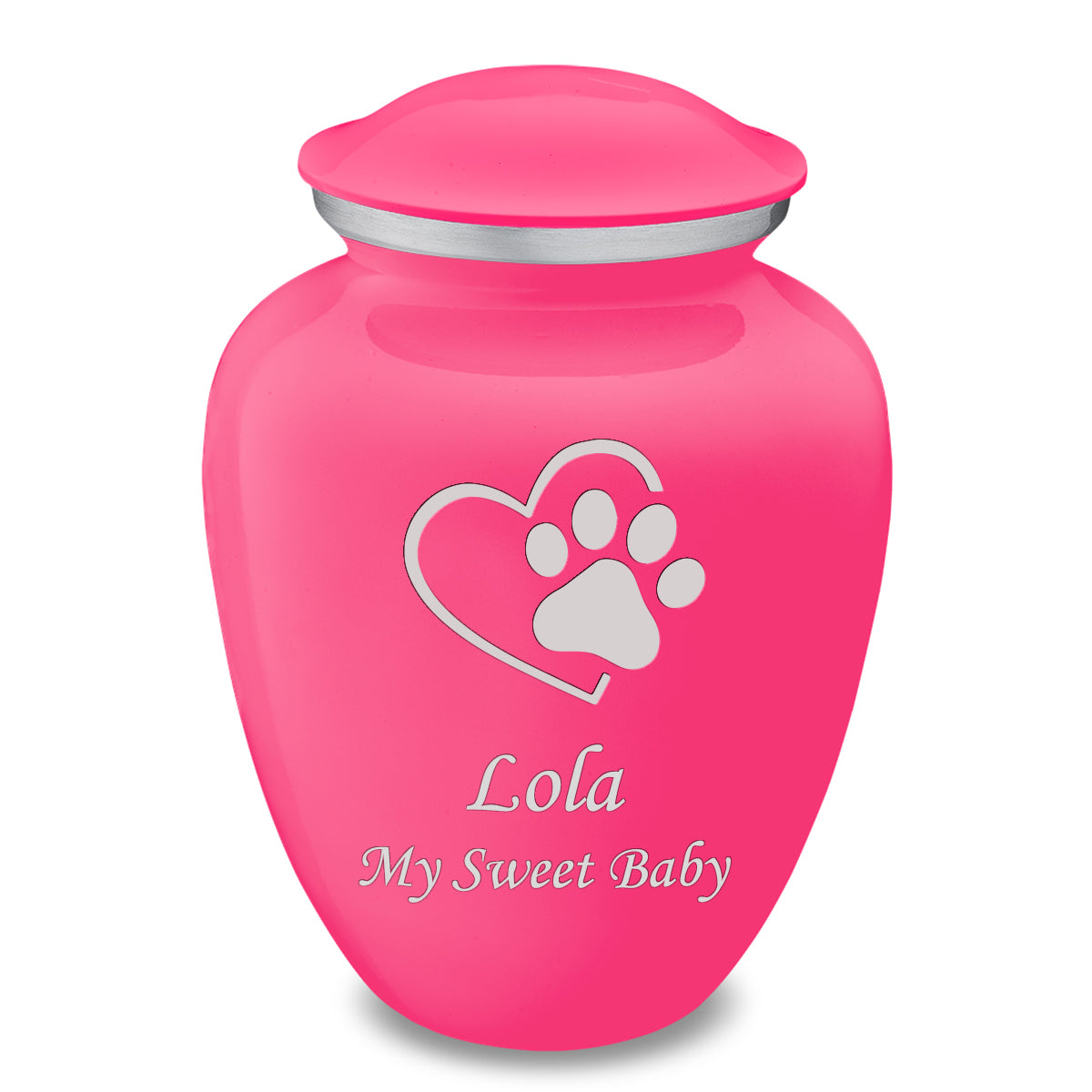 Large Embrace Bright Pink Single Paw Heart Pet Cremation Urn