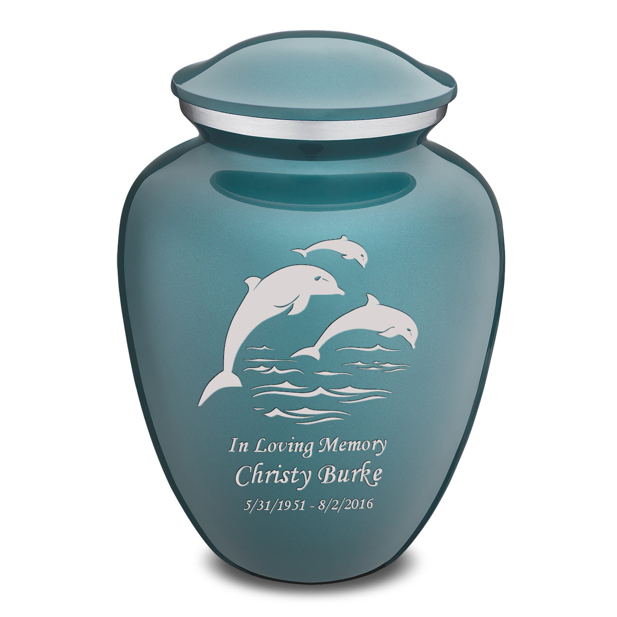 Adult Teal Embrace Dolphins Cremation Urn