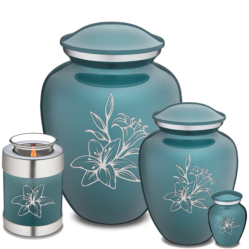 Candle Holder Embrace Teal Lily Cremation Urn