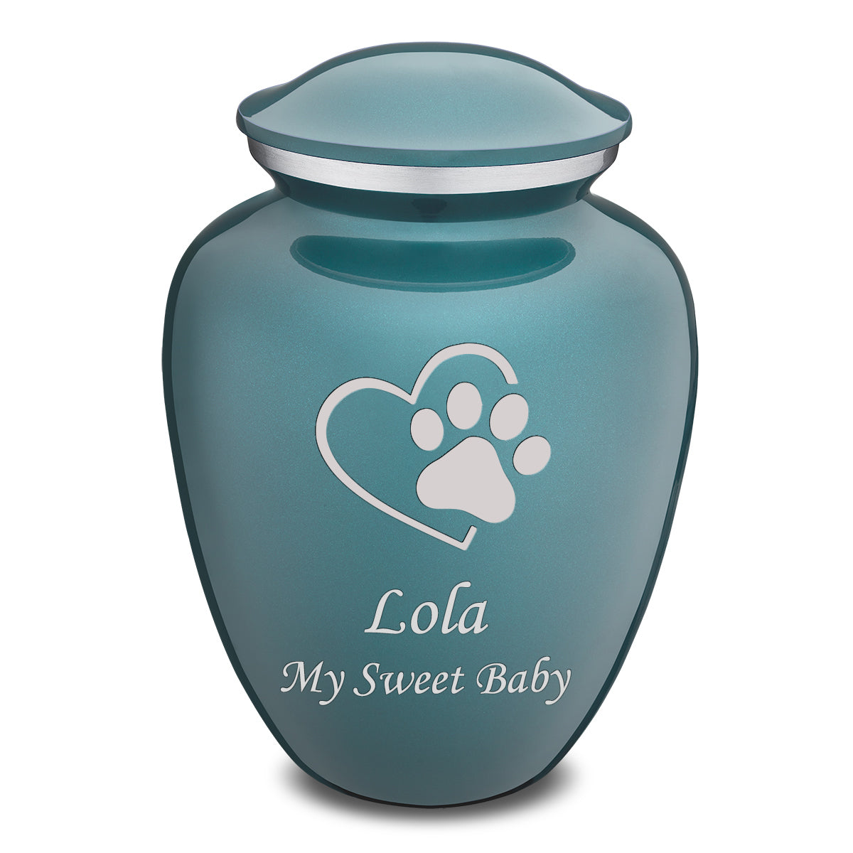 Large Embrace Teal Single Paw Heart Pet Cremation Urn