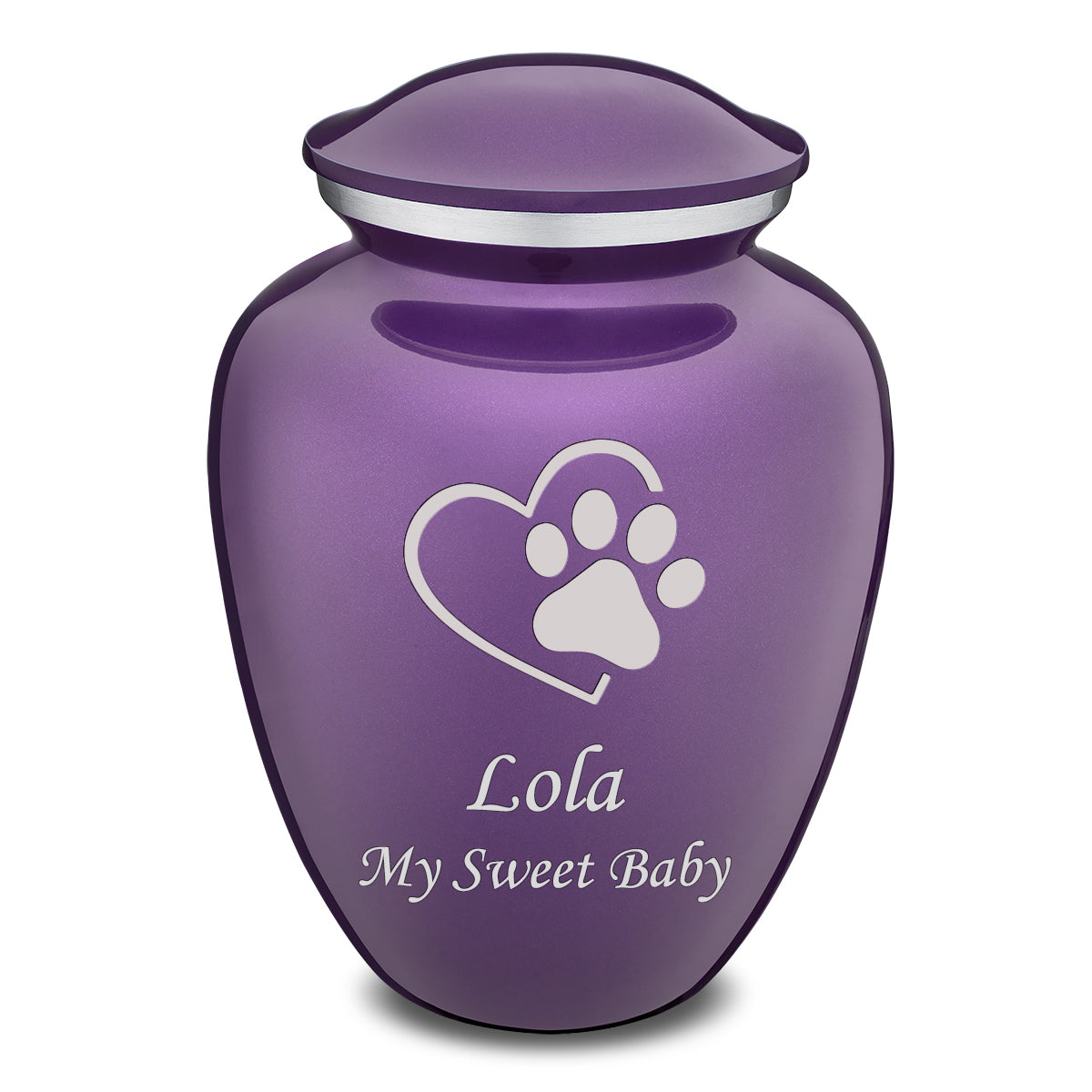 Large Embrace Purple Single Paw Heart Pet Cremation Urn