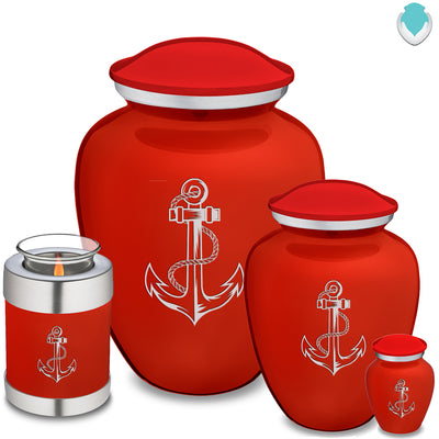Medium Bright Red Embrace Anchor Cremation Urn