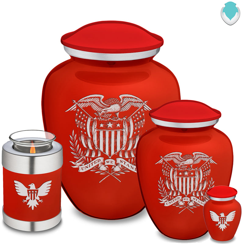 Medium Embrace Red American Glory Cremation Urn