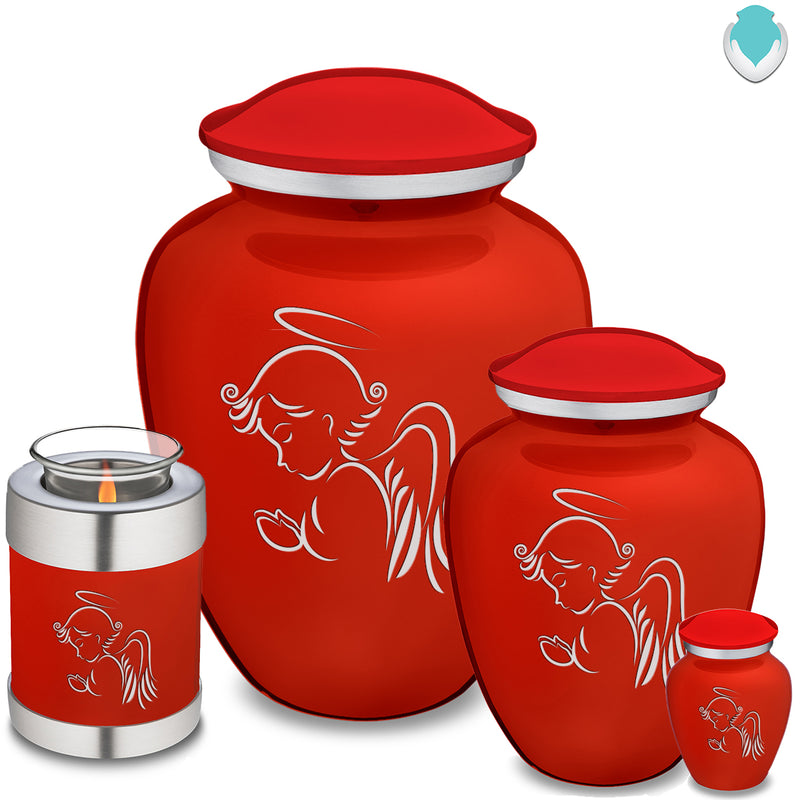 Medium Embrace Bright Red Angel Cremation Urn