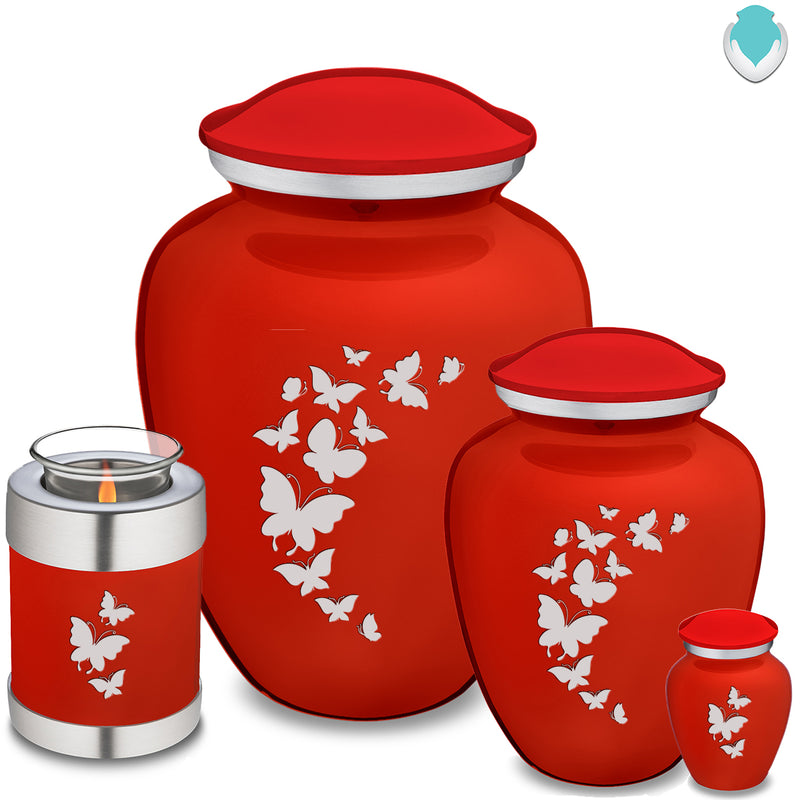 Medium Embrace Bright Red Butterfly Cremation Urn