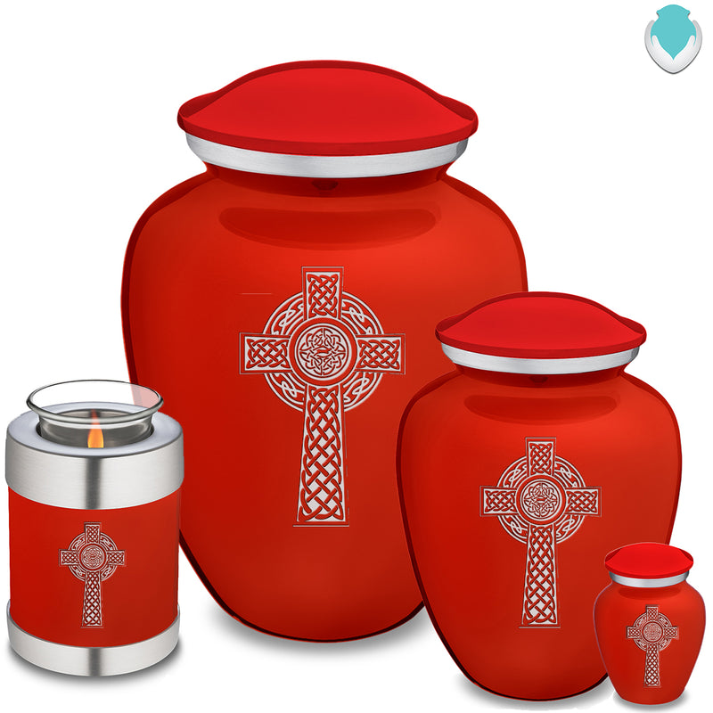 Medium Embrace Bright Red Celtic Cross Cremation Urn