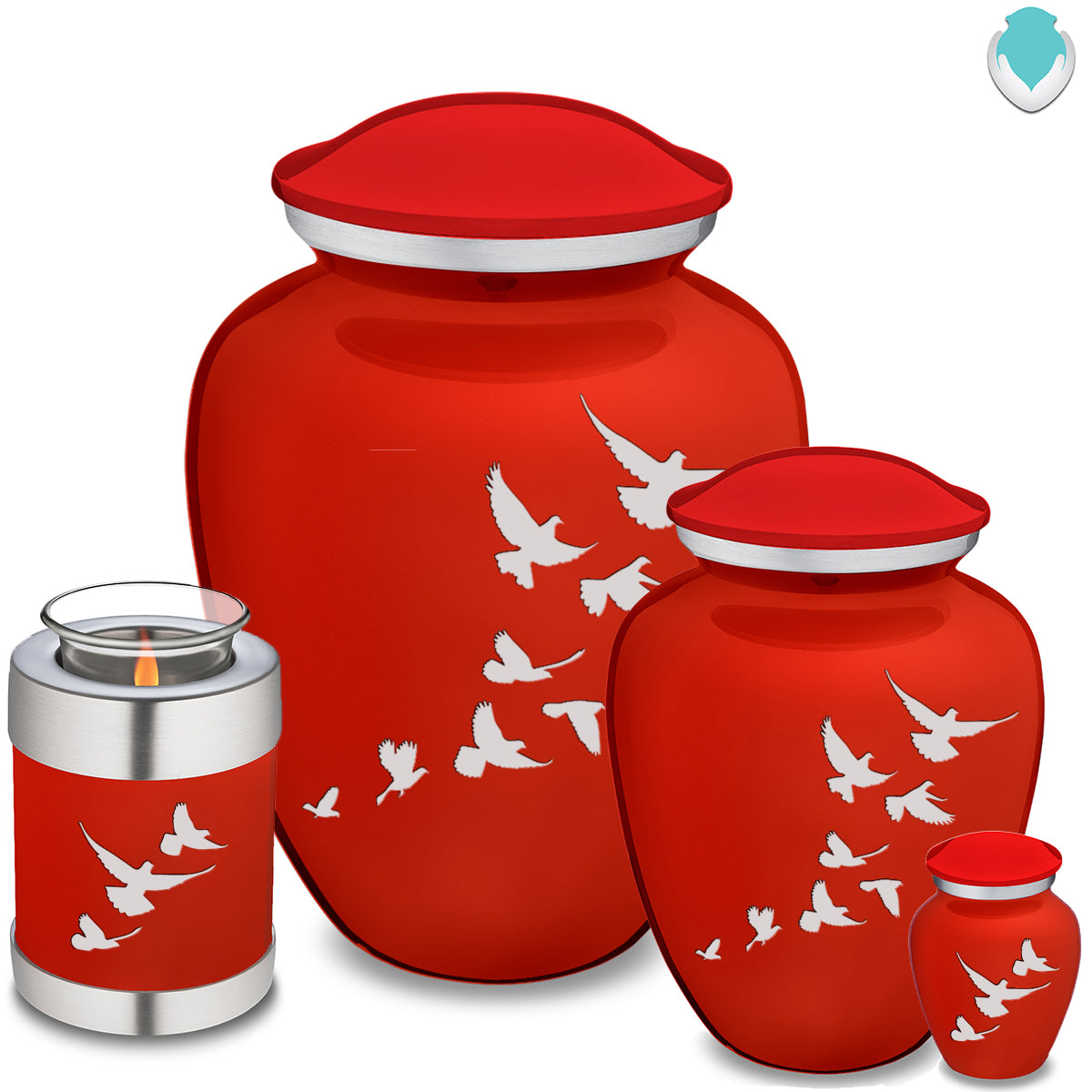 Adult Embrace Bright Red Doves Cremation Urn