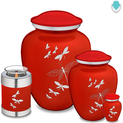Adult Embrace Bright Red Dragonflies Cremation Urn