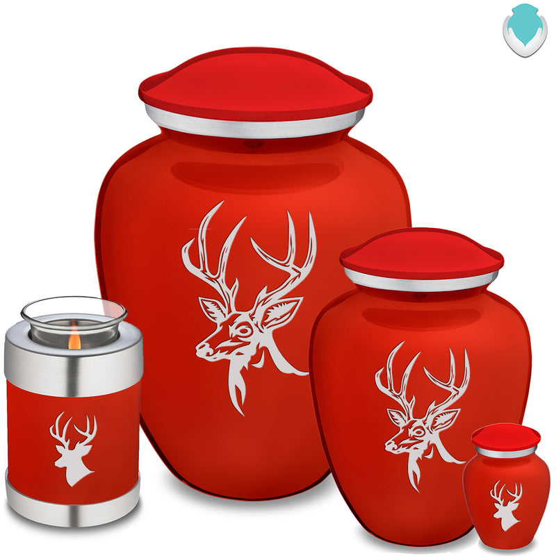 Adult Embrace Bright Red Deer Cremation Urn