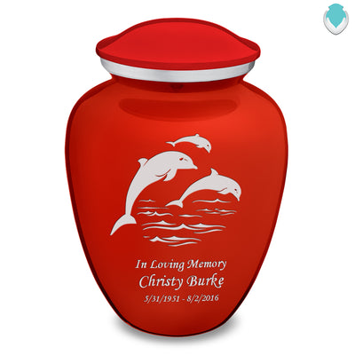 Adult Embrace Bright Red Dolphins Cremation Urn