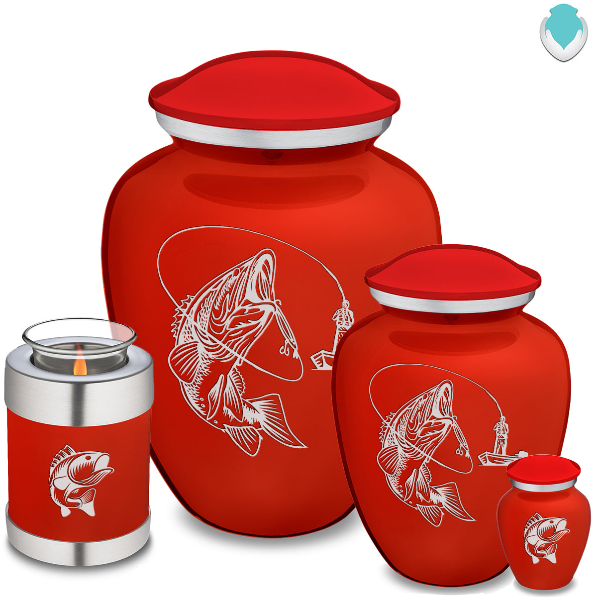 Adult Embrace Bright Red Fishing Cremation Urn
