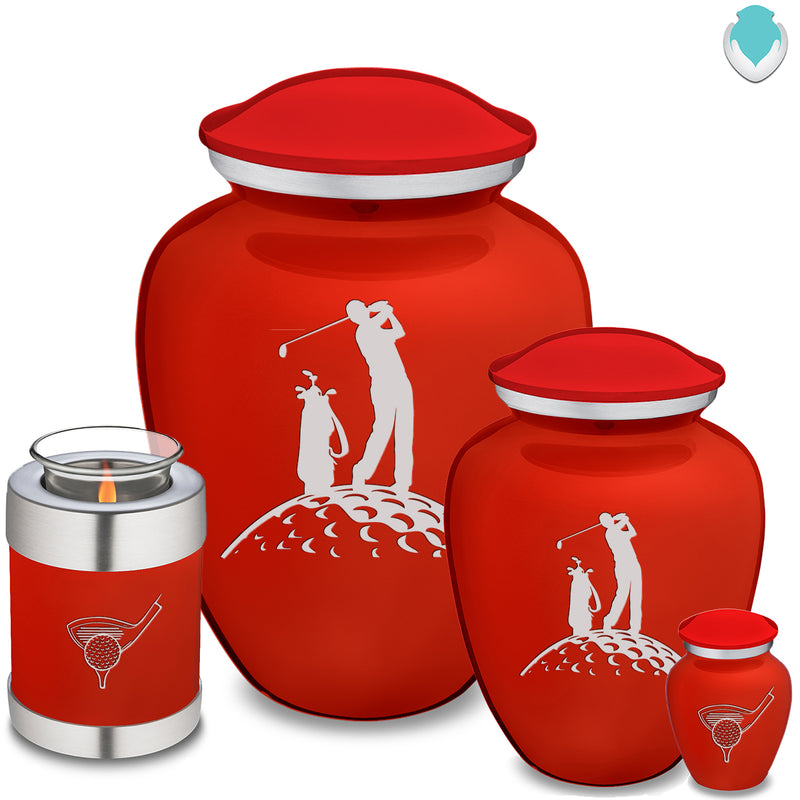 Medium Embrace Bright Red Golfer Cremation Urn