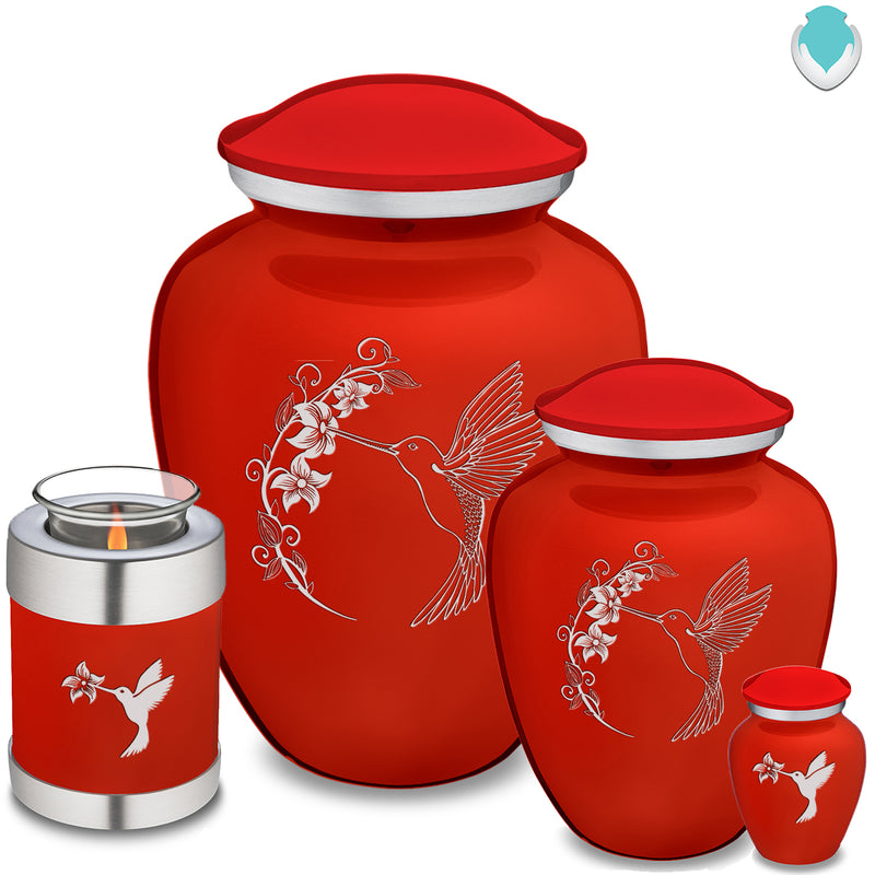 Medium Embrace Bright Red Hummingbird Cremation Urn