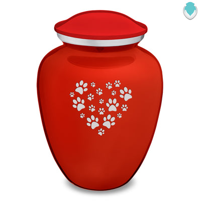 Large Embrace Bright Red Heart Paws Pet Cremation Urn