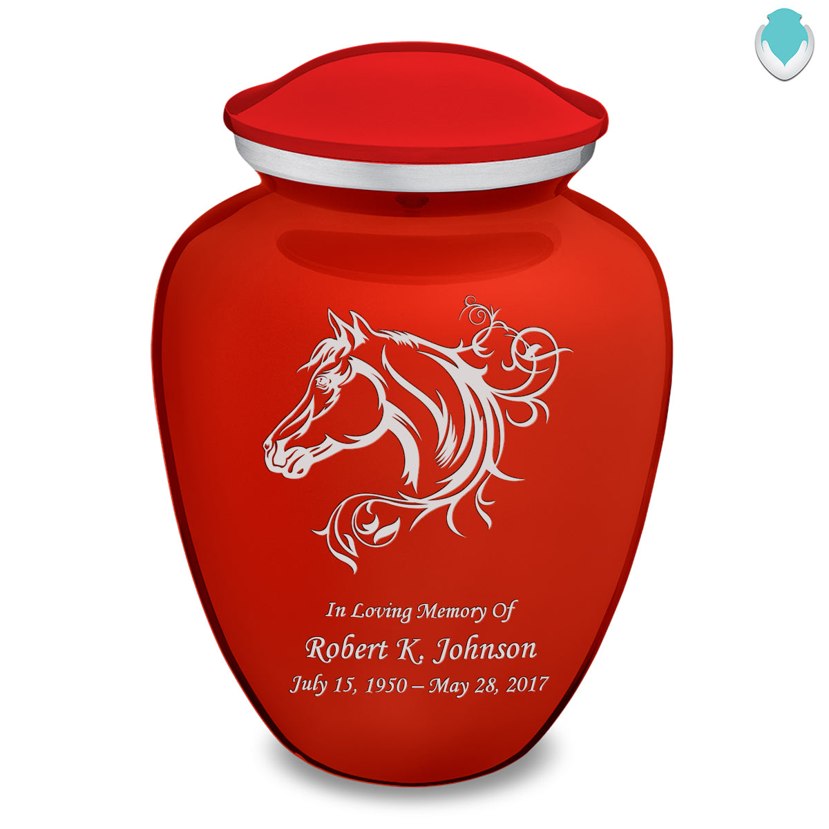 Adult Embrace Bright Red Horse Cremation Urn