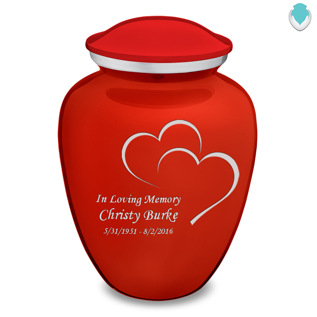 Adult Embrace Bright Red Hearts Cremation Urn