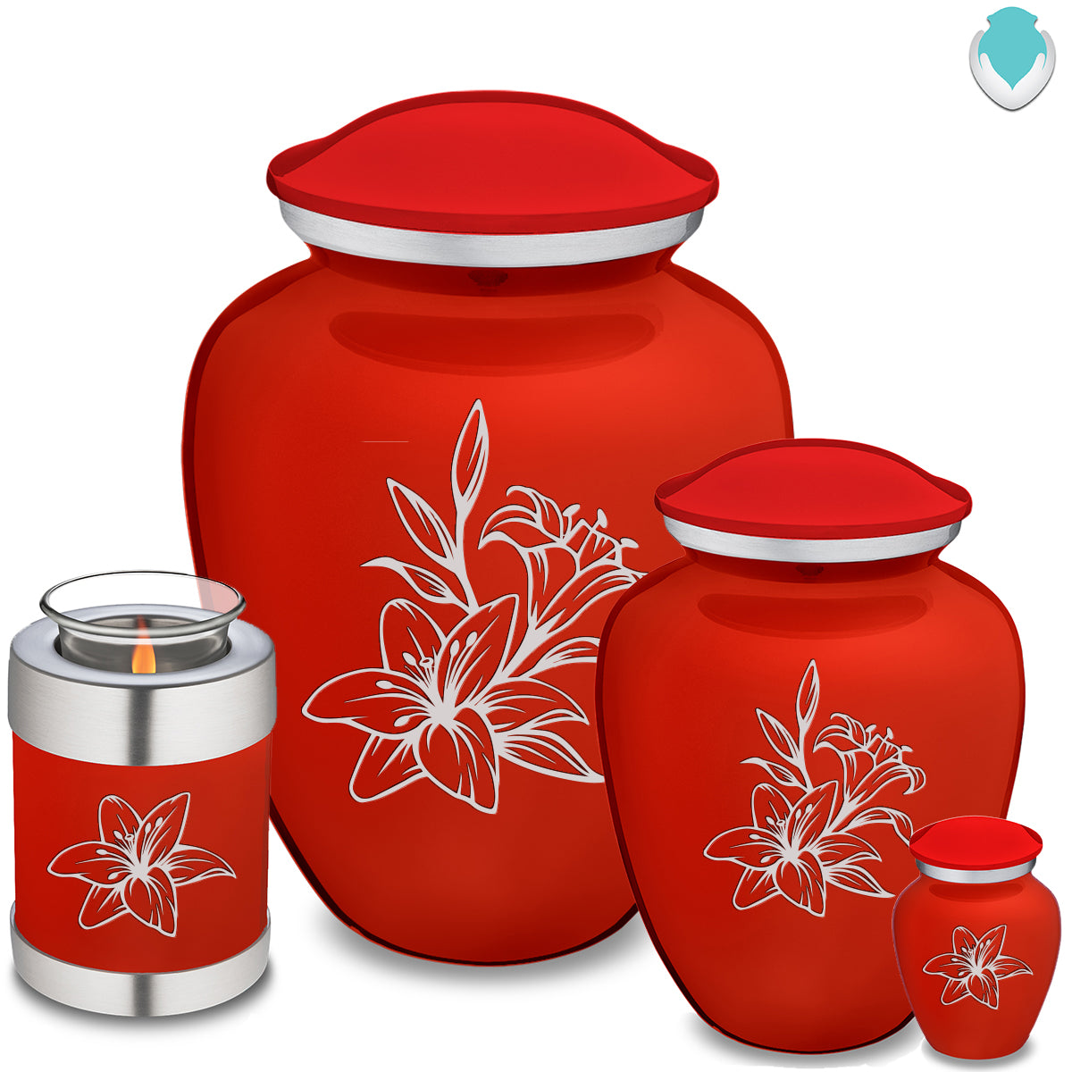 Adult Embrace Bright Red Lily Cremation Urn
