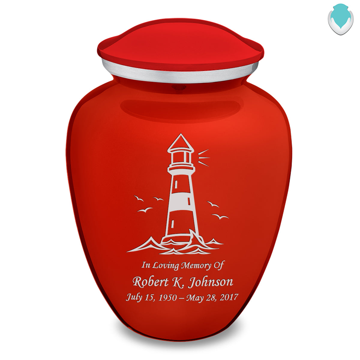Adult Embrace Bright Red Lighthouse Cremation Urn