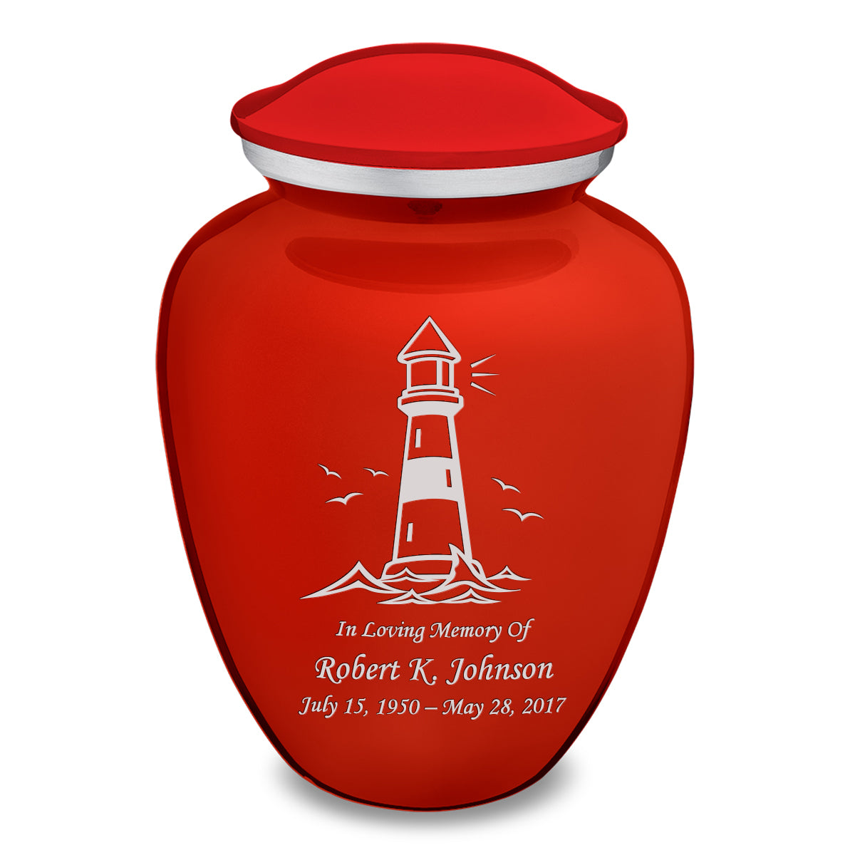 Adult Embrace Brick Red Lighthouse Cremation Urn