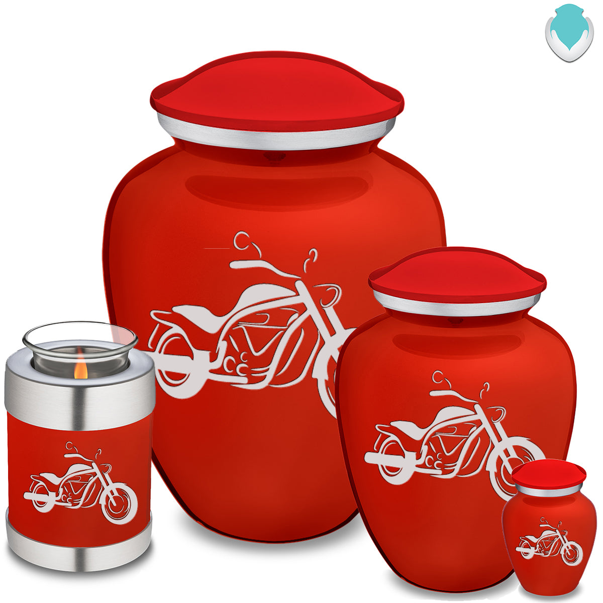 Adult Embrace Bright Red Motorcycle Cremation Urn