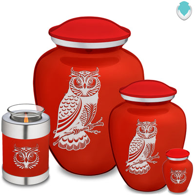 Adult Embrace Bright Red Owl Cremation Urn