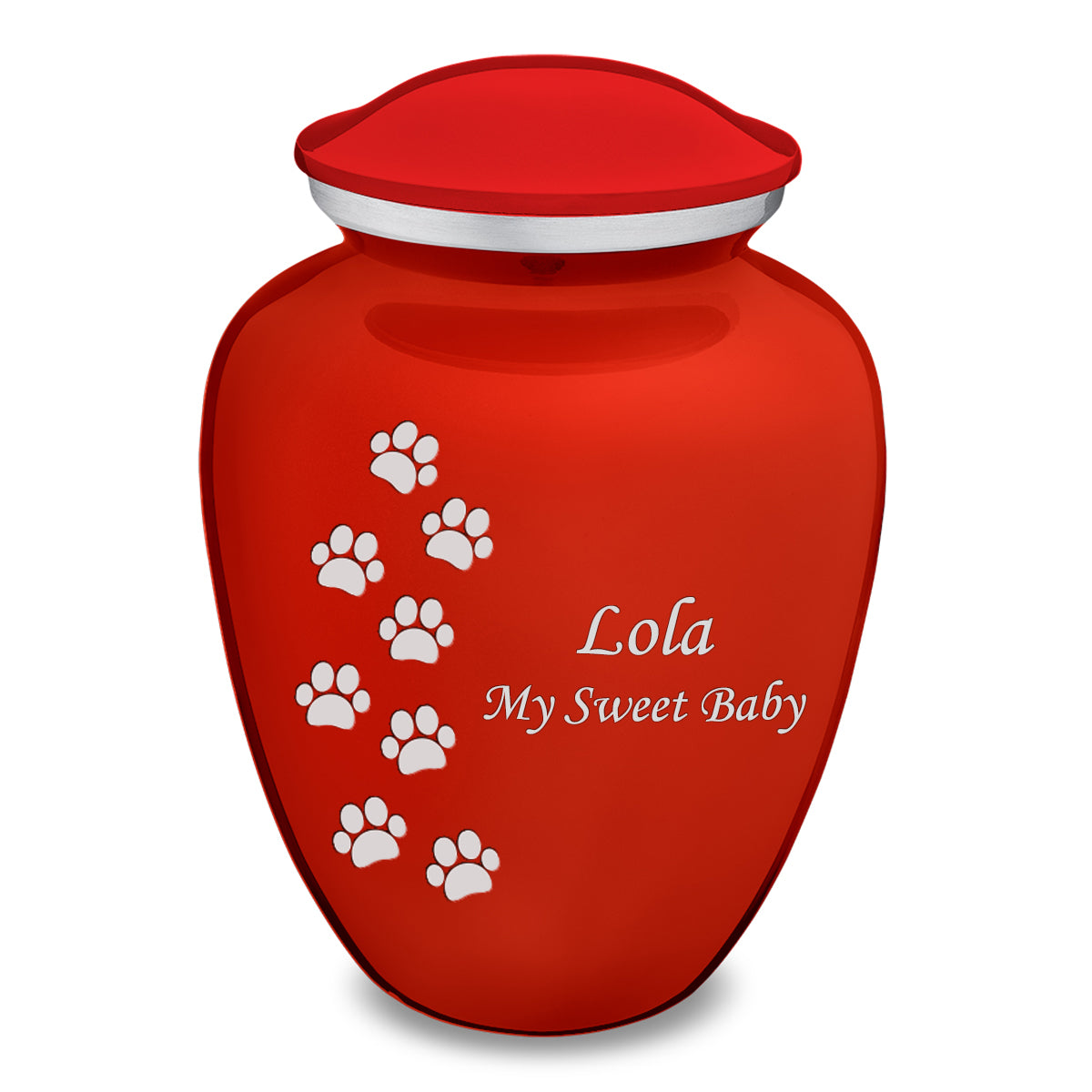 Large Embrace Bright Red Walking Paws Pet Cremation Urn