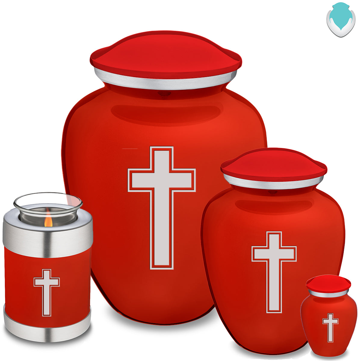 Adult Embrace Bright Red Simple Cross Cremation Urn