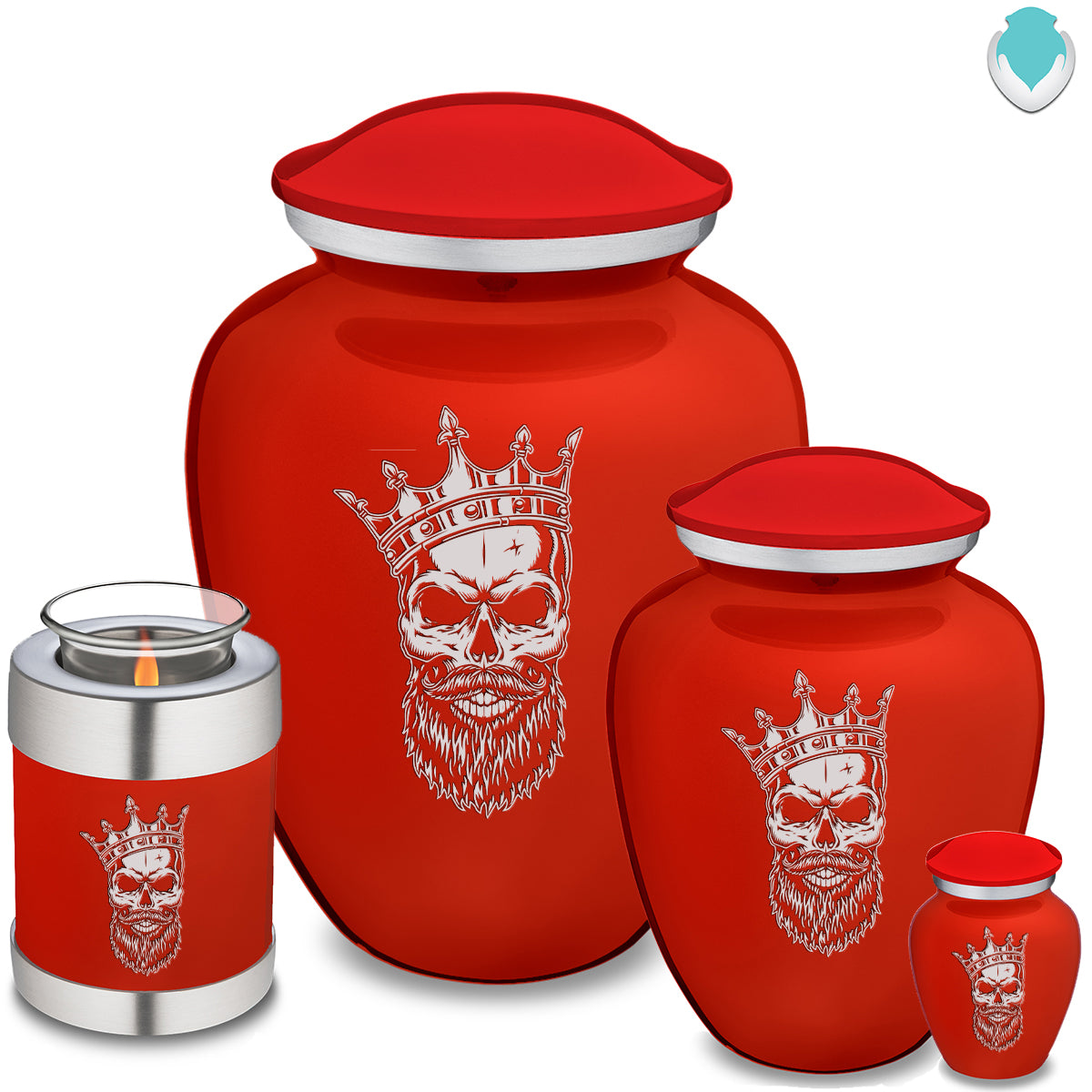 Adult Embrace Bright Red Skull Cremation Urn