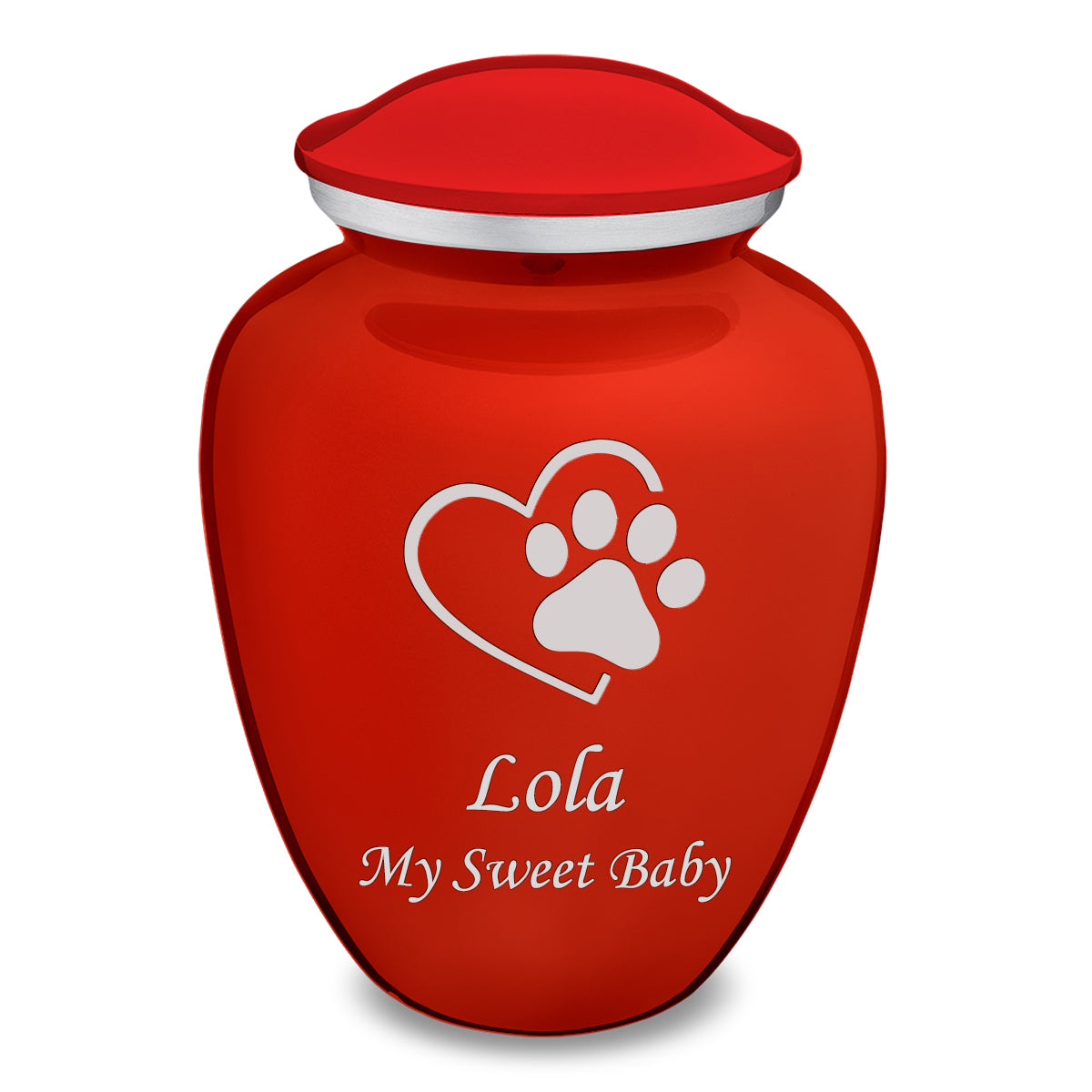 Large Embrace Bright Red Single Paw Heart Pet Cremation Urn