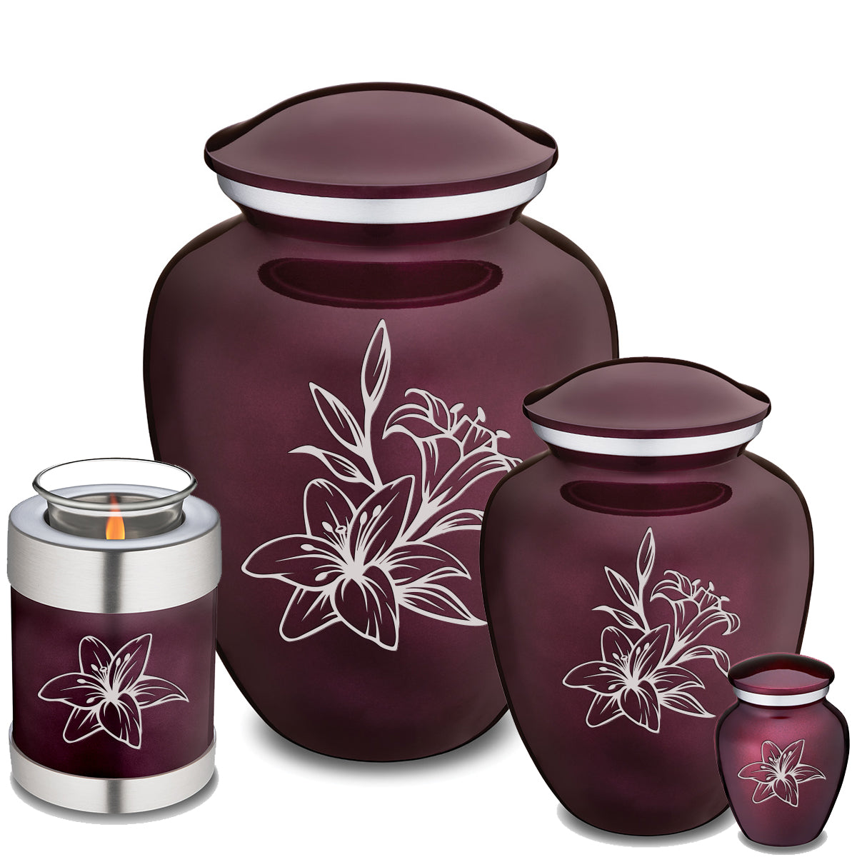 Adult Embrace Cherry Purple Lily Cremation Urn
