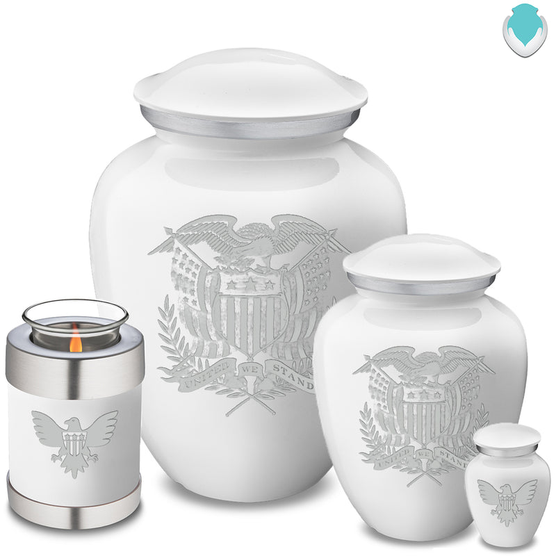 Candle Holder Embrace White American Glory Cremation Urn