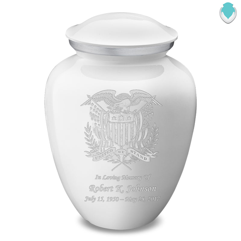 Adult Embrace White American Glory Cremation Urn