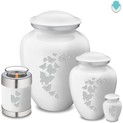 Medium Embrace White Butterfly Cremation Urn
