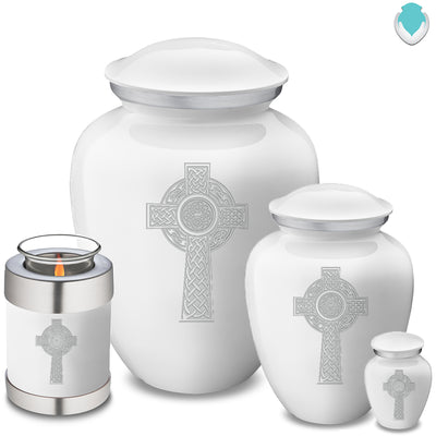 Medium Embrace White Celtic Cross Cremation Urn