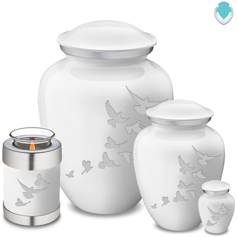 Adult Embrace White Doves Cremation Urn