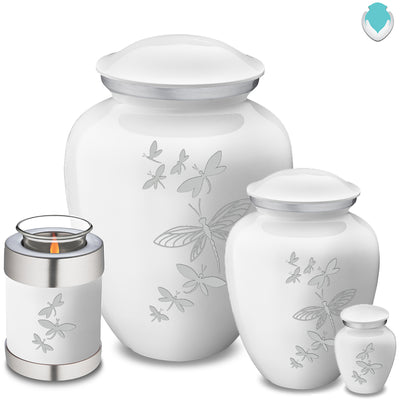 Candle Holder Embrace White Dragonflies Cremation Urn