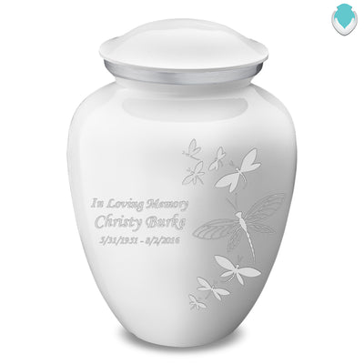 Adult Embrace White Dragonflies Cremation Urn