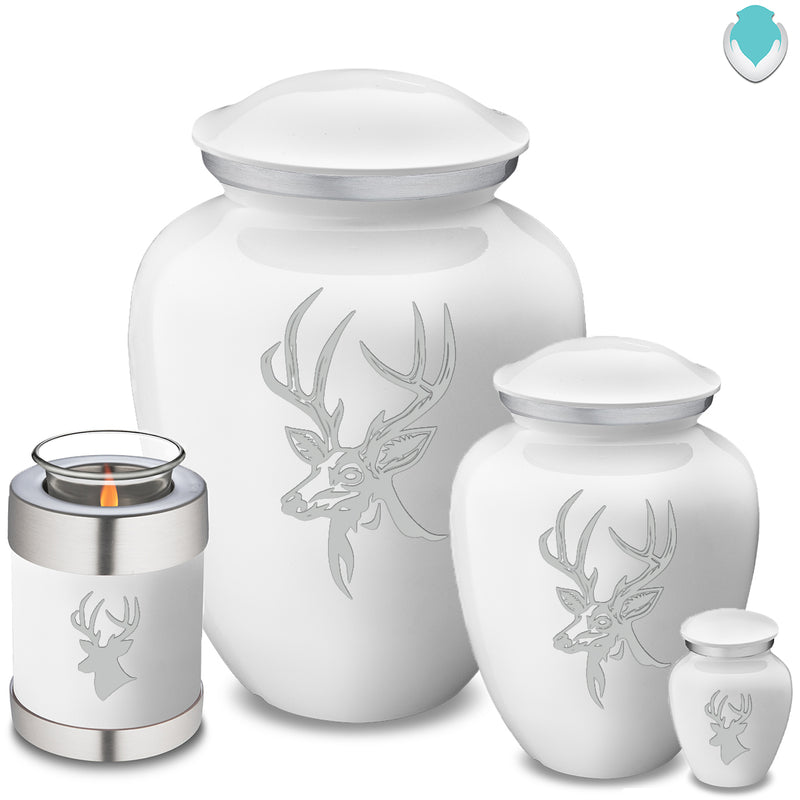Candle Holder Embrace White Deer Cremation Urn