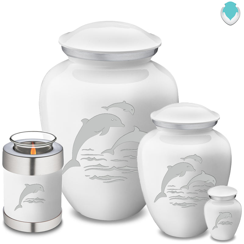 Candle Holder Embrace White Dolphins Cremation Urn